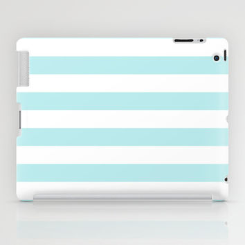 Turquoise Aqua Blue Stripe Horizontal iPad Case by BeautifulHomes