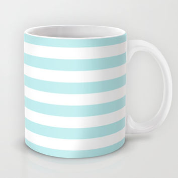 Turquoise Aqua Blue Stripe Horizontal Mug by BeautifulHomes
