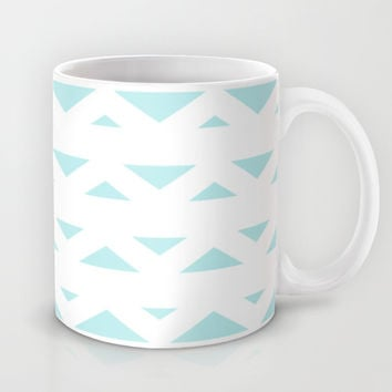 Turquoise Aqua Blue Tribal Triangles Mug by BeautifulHomes