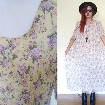 Vintage 90's pleated wrinkle floral flower semi-sheer rose oversized tent dress maxi hippie boho bohemian grunge slouchy large size L - XL