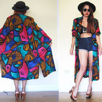 Vintage 80's abstract avant garde multi colors tuxedo collar caftan duster maxi dress blue green red print hippie boho bohemian festival