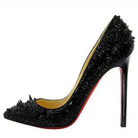 Christian Louboutin Pigalle Spiked 120 Strass Pumps Black