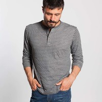 Duofold Henley - Charcoal & White Stripe : Marine Layer