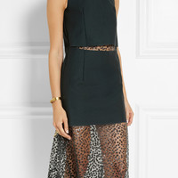 Toga | Layered twill and leopard-print voile dress | NET-A-PORTER.COM