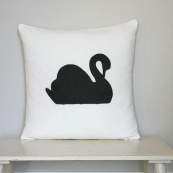 Swan Black on White Canvas Cushion Cover, handpainted pillow cover. Swan decor