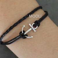 Silver Anchor Bracelet Cuff With Black Leather Cuff Bracelet Women Bracelet Men Bracelet Adjustable