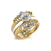 Annette's Two Tone Cubic Zirconia Wedding Ring Set