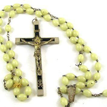 Antique Priest Pectoral CRUCIFIX Skull & Crossbones Wood Inlay & Green ROSARY