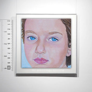 CUSTOM PORTRAIT, ORDER , face portrait, Oil  Painting from Picture, 4x 4in, Birthday Gift, Kids, Girl,  Face, Christmas gift,  art