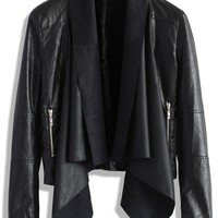 Milky Way Leather Jacket with Waterfall Drape Black