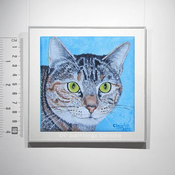 CUSTOM ORDER Cat Painting, Oil Painting from Picture, 4x4in, pet portrait, Cat, Birthday gift, Christmas gift, Pet lovers, Pets, art