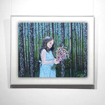 Girl painting, GIRL with flowers oil painting, 8X10i, forest , flowers,  landscape, girl portrait, wall art, wall decor, christmas gift