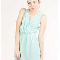 MINT LOVELY CHIFFON PLEAT CROSSBACK DRESS @ KiwiLook fashion