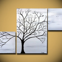 Black and White painting, Large tree painting wall Art, birds tree home decor, Triptych 40, ORIGINAL Canvas Abstract, Home decor