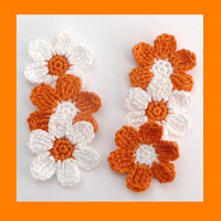 6 medium  crochet  flowers, appliques and embellishments
