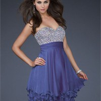 Short Bodice Beaded Sweetheart Neckline Layered Chiffon Prom Dress PD1923
