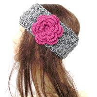 Hand Knit Headband with Flower boho headband boho accessories Spring Fashion Eco-Friendly Clothing Mothers day Women Hippie
