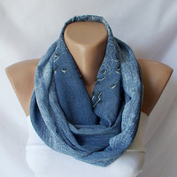 XMAS IN JULY %20 Sale-Denim Blue and Flower.....Infinity Loop Scarf ..Chiffon... Scarf. Jeans Color