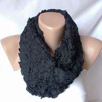 XMAS IN JULY %20 Sale-Coal Black Cotton Bubble Cozy Scarf with wrinkle