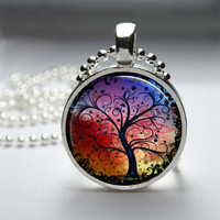Round Glass Bezel Photo Art Pendant Tree Pendant Tree Necklace With Silver Ball Chain (A3157)