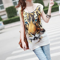 Tiger Print Long Best Tees White  : Wholesaleclothing4u.com