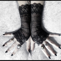Agathe Long Lace Fingerless Gloves - Black Ornate Embroidered - Gothic Wedding Fetish Dark Tribal Bellydance Mehndi Damask Goth Bridal