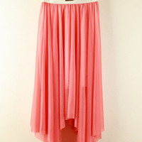 Belt Waist Irregular Hem Chiffon Skirt