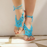 Crochet Butterfly Turquoise Barefoot Sandals Nude shoes by Lasunka