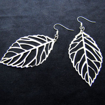 silvery leaves earrings,charming earrings,cute earrings EH42