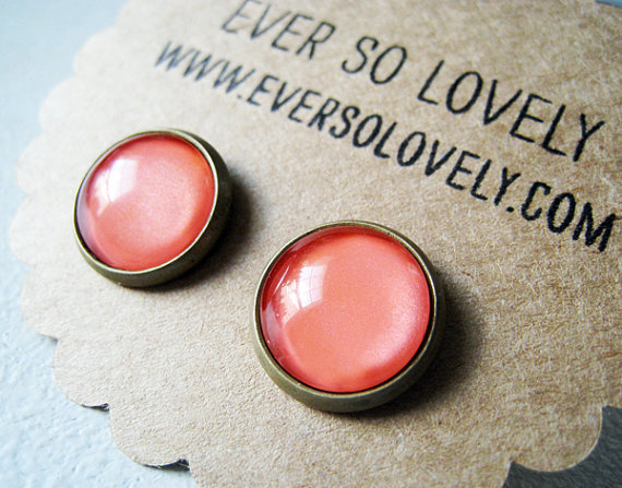 large coral pink earrings - handmade salmon pink sparkly metallic nickel free post earrings