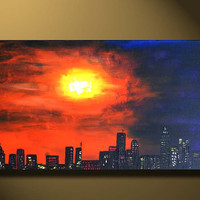 ORIGINAL Art Oil Painting sunset City Scape view, Large Canvas painting 48x24, New York City, Urban Art abstract Acrylic purple