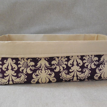 Lovely Purple and Cream Damask Long Fabric Basket