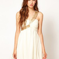 Paprika Sequin One Shoulder Chiffon Prom Dress at asos.com