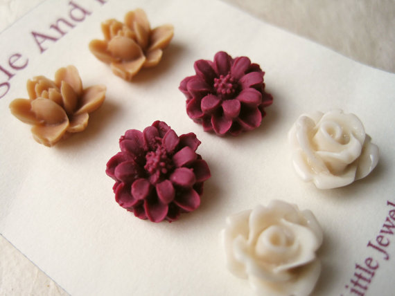 Flower Stud Earrings. Ivory Rose Earrings, Wine Red Daisy Earrings, Caramel Lotus Earrings. Set of 3. Stud Earrings. Summer Fashion. FSE3