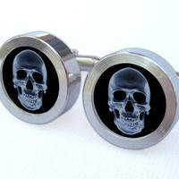 Skull Cufflinks -- X-ray Gift for wedding, groomsmen, and university graduation