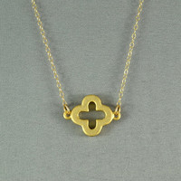 Four Leaf Clover Necklace, 18K Gold Vermeil, 14K Gold Fill Chain, Feminine, Eye Catching, Everyday Wear Jewelry