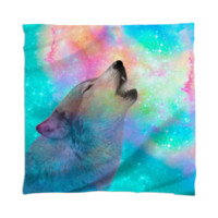 Dreamer of Dreams (Galaxy Wolf Howl Version 2) Scarf / Mini Tapestry created by soaringanchordesigns | Print All Over Me