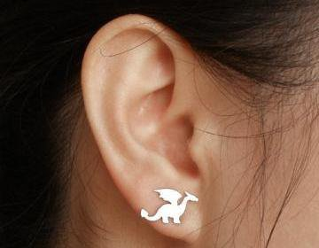 Dragon Earring Studs In Sterling Si.. on Luulla