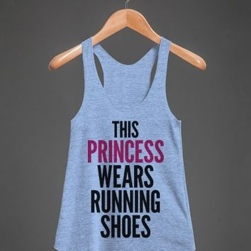 This Princess Wears Running Shoes-White/Neon Heather Pink T-Shirt