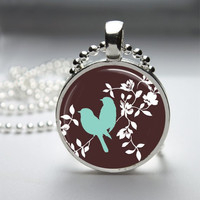 Round Glass Bezel Photo Art Pendant Bird Pendant Bird Necklace With Silver Ball Chain (A3180)