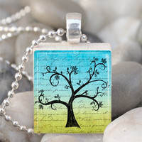Scrabble Tile Pendant Tree Pendant Tree Necklace With Silver Ball Chain (A2743)