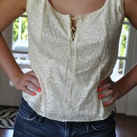 Lace Tank Top with Ribbon Accent