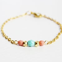 mint, coral and gold beaded bracelet - delicate minimal jewelry