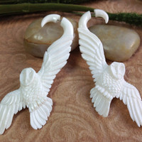 "Fake Gauge Earrings, ""Snowy Owl"" Naturally Organic, Bone, Hand Carved, Tribal"