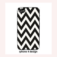 Black Chevron Zig Zag Iphone 4 case, Iphone case, Iphone 4s case, Iphone 4 cover, Iphone 4 custom hard shell, i phone 4s case