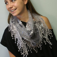 Scarf FREE SHIP USA Pik a color A little sparkle and elegance venice  lace trimmed triangle scarves for women by Catherine Cole Studio