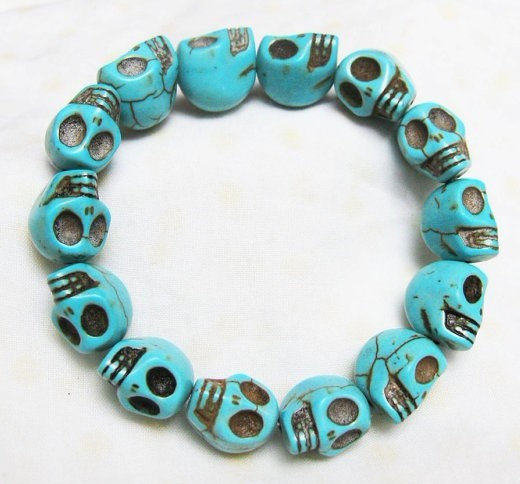 blue Turquoise skull bracelet-------- Day of the death