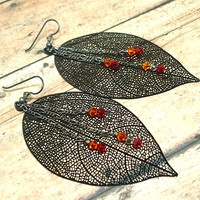 Black Lacy Leaf and Swarovski Crystal Dangle Gunmetal Chain Earrings