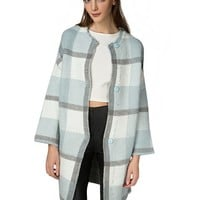 Powder Blue Oversize Check Cardigan