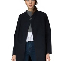 The Systems Navy Cocoon Coat